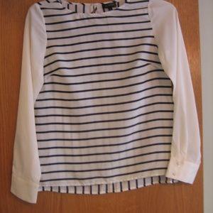 The Limited Navy & Cream Stripe Long sleeve Blouse